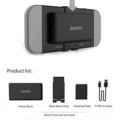 Zantec - Cargador portátil extraíble de 10000mAh para batería externa para Nintendo Switch, negro