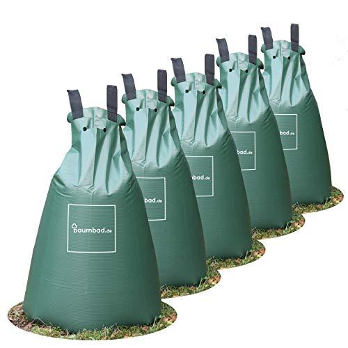 Baumbad 5 Premium Bewässerungsbeutel, PVC UV Beständig, Baumsack zur Bewässerung Grün