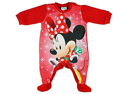 Kleines Kleid Mädchen Baby-Strampler Weihnachts-Strampler Baby Weihnachtsoutfit Langarm Fuß WARM Minnie Mouse GRÖSSE 56 62 68 74 Rot Neugeborene 0 3 6 9 Monate Geschenkidee Weihnachtlich Größe 74