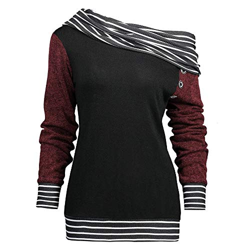 KPPONG Damen Pullover Sweatshirt Schulterfrei Schal Kragentyp Tunika Plaid Patchwork Pulli Knopf Design Langarmshirt
