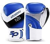 Starpro T20 Guantes de Boxeo de Cuero de PU para Entrenamiento y Sparring en Muay Thai Kickboxing Fitness - Hombres y Mujeres - Múltiples Colores - 8oz 10 oz 12 oz 14 oz 16 oz (Azul, 12oz)