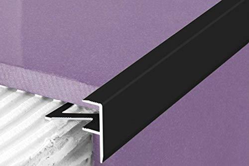 1 Stück | Rand Fliesenleiste | Alu | rostfrei | Effector | 2000x23x8mm | A85 | schwarz