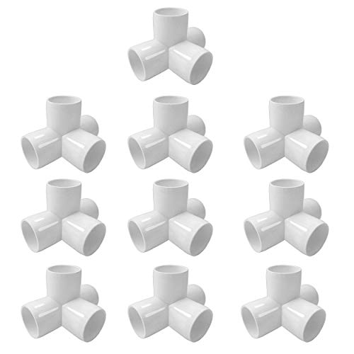 SELLERS360 4Way 3/4 in PVC Fittings Corner Cross Elbow 45 90 Degree for Greenhouse Shed Pipe, Tent Connection Tee, Furniture Build Grade SCH40 [Pack of 10]
