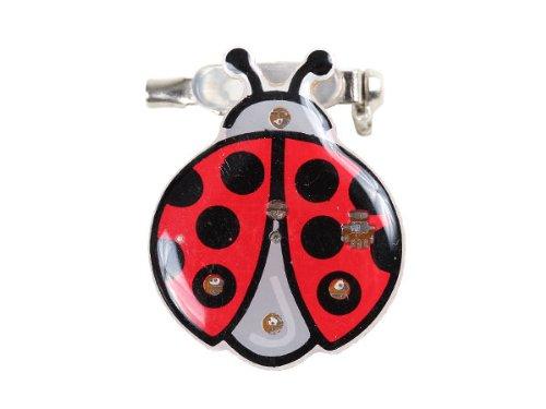 Blinki LED Anstecker Blinky Brosche LED Pin Button viele Motive, wählen:Marienkäfer 79