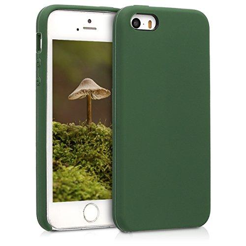 kwmobile Cover Compatibile con Apple iPhone SE (1.Gen 2016) / 5 / 5S - Custodia in Silicone TPU - Back Case Protezione Cellulare Verde Scuro
