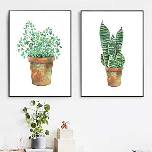 hdbklhjxk canvas schilderij Nordic stijl poster cartoon groene plant bladeren afbeeldingen muurkunst prints voor woonkamer huis decoratie 40x60cmx2 niet ingelijst