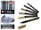 PIGMA MICRON Manga Sakura Koi Coloring Brush Pen Skin Tones 6 Pack. Sakura Koi Coloring Brush Pen 6 Set, Grey Colors (France Import)