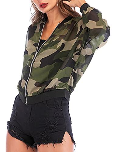 Mufeng Chaqueta Deportiva de Verano de Moda para Mujer Chaqueta Transparente Estampado de Camuflaje con Cremallera Deporte Verde M