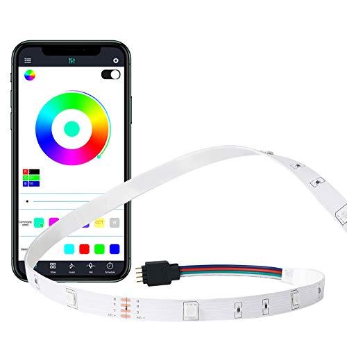 MMcRRx striscia di RGB LED 10m, Catena LED RGB con Mobile App Remote Control & Telecomando a raggi infrarossi, colori DIMMERABILE, 5050 LED per le scene più