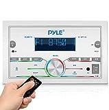 Pyle Bluetooth Marine Radio Receiver - 300W Double DIN Boat Marine Head Unit Amplifier System w/Digital LCD, Mic, Hands-Free Calling, AUX, MP3, USB/SD, AM/FM Radio, Remote Control - PLMR77U (White)