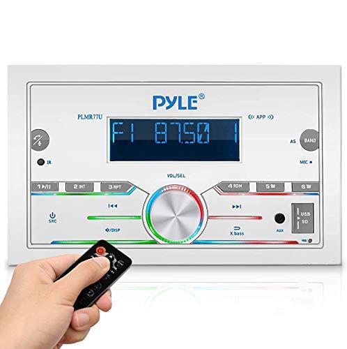 Pyle Bluetooth Marine Radio Receiver - 300W Double DIN Boat Marine Head Unit Amplifier System w Digital LCD, Mic, Hands-Free Calling, AUX, MP3, USB SD, AM FM Radio, Remote Control - PLMR77U (White)