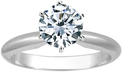 1/2 Carat Round Cut Diamond Solitaire Engagement Ring 14K White Gold 6 Prong (J, I2, 0.45 c.t.w) Very Good Cut