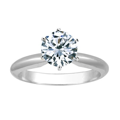 Near 1 Carat Carat Round Cut Diamond Solitaire Engagement Ring 18K White Gold 6 Prong (J, I2, 0.85 c.t.w) Very Good Cut