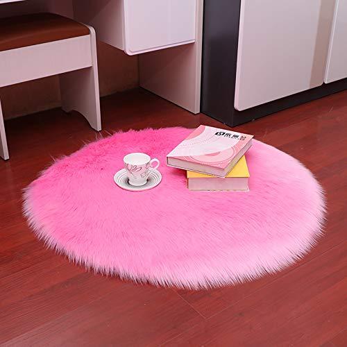 DJUX Alfombra mullida,Alfombra de Piel sintética,universales alfombras de Varios tamaños utilizadas en pbedroom, Sala de Estar,Silla o sofá,Circle diameter140cm