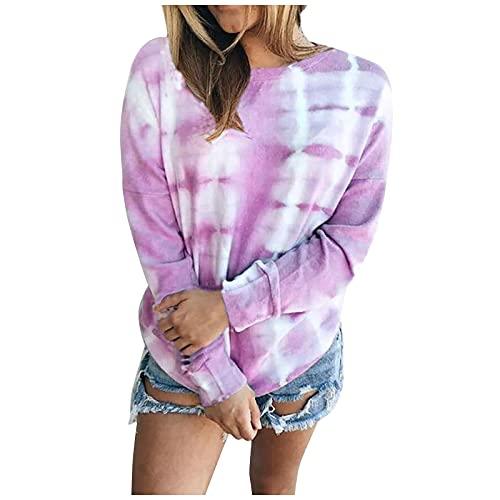 Yeau Sudadera casual de manga larga con cuello en O y contraste de color holgado para mujer, Morado (, L