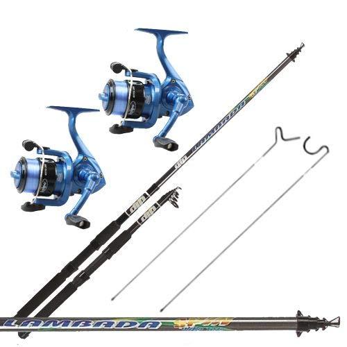 kolpo Kit Pesca Tutto Fare Spinning Bolognese Fondo 2 Canne 2 Mulinelli 2 Puntali