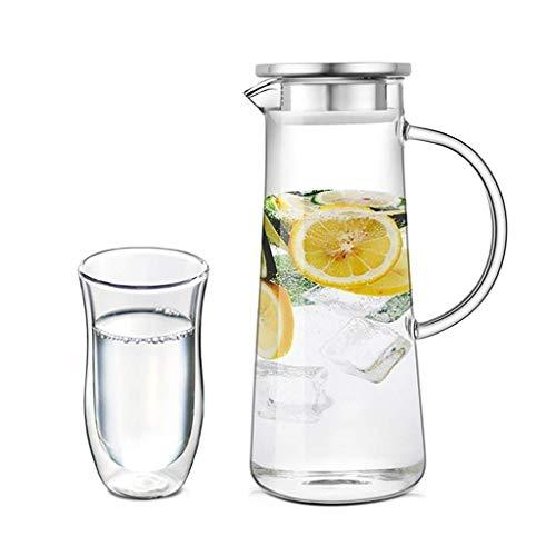 Home Fashion Glas Pitcher Kan, Pot Home Mode Glas Fles Herbruikbaar Perfect voor Iced Tea Koffie Melk en Sap Flessen, HC B