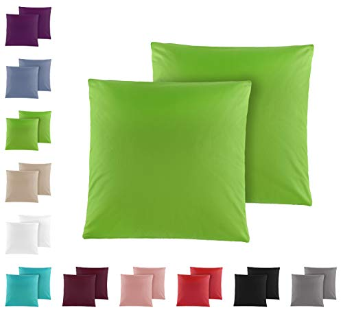 Doppelpack Baumwolle Renforcé Kissenbezug, Kissenbezüge, Kissenhüllen 80x80 cm in vielen modernen Farben Grün
