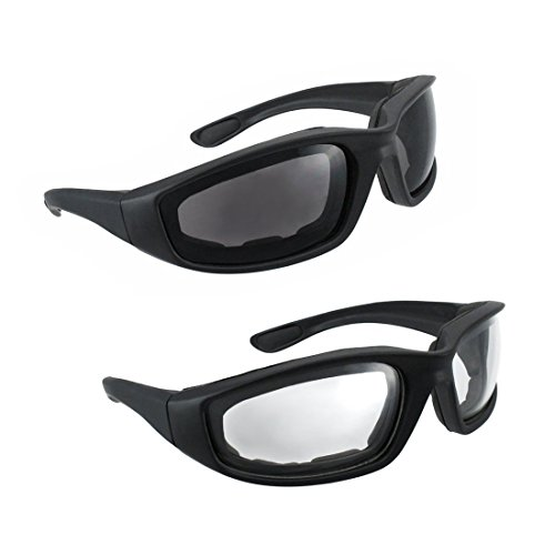 Motorcycle Riding Glasses - 2 Pair Smoke & Clear Biker Foam Pad