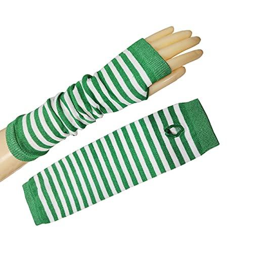 Primavera Verano Deportes Guantes Largos de Punto Mangas de Mujer Moda para Hombre Medio Dedo Calentador de Brazo Oversleeve-White Green-One Size