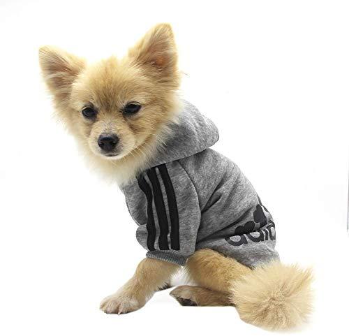 QiCheng&LYS Hundemantel Adidog Hund Hoodies Kleidung, Pet Puppy Katze Niedlicher Baumwoll Warm Hoodies Coat Pullover (XXL, grau)