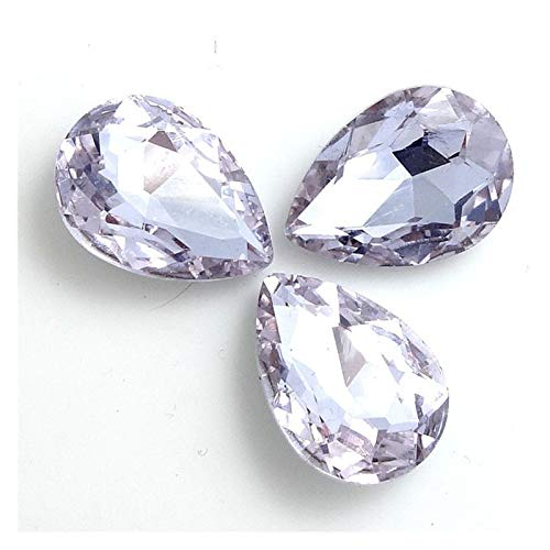 ZHAO Faceted Crystal Glass Rhinestones Teardrop Loose Beads Jewelry 7x10/10x14/13x18/18x25/20x30mm (Color : Crystal violet, Size : 20x30mm 5pcs)