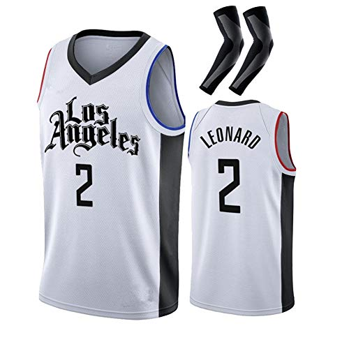 CWWAP Embroidery Leonard 2 George 13 Basketball Jersey Swingman Edition Jersey, Sportswear, Unisex Sleeveless Tshirt, Breathable mesh-No.2 White-S
