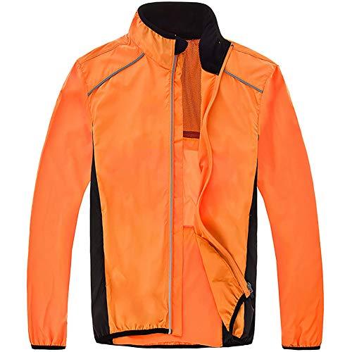 Dogggy Leichte Fahrradjacke Herren Wasserdicht, Atmungsaktiv Gut Sichtbare Reflektierende Fahrrad-Regenjacke Ultraleicht MTB Windjacke, Winddichte Sportbekleidung Sommer,Orange,XXXL