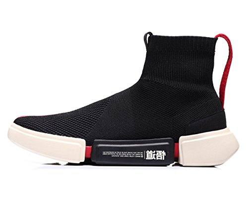 LI-NING NYFW Wade Essence â…¡ Men Breathable Lightweight Basketball Culture Shoes Lining High Top Knit Sports Sock Shoes Black ABCM113-5D US 7.5