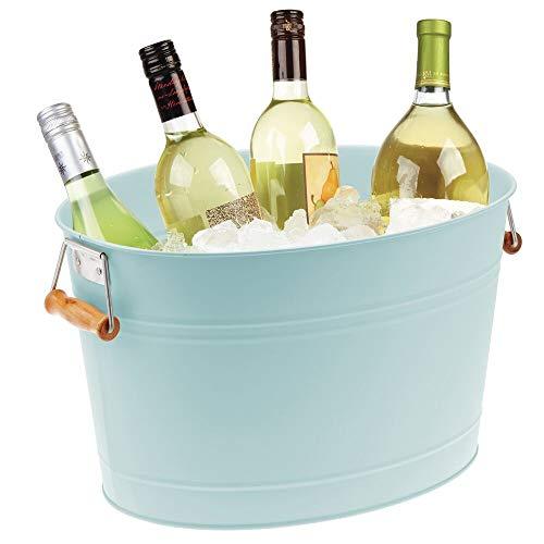 mDesign Champanera de metal – Enfriador de botellas decorativo con asas – Ideal como cubo para enfriar bebidas como vino, cerveza, cava o refrescos – verde menta