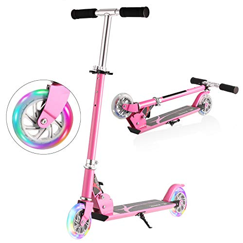 Hikole Scooter for Kids | Scooters Foldable Portable Adjustable Height Kick Scooter with 2 LED Light Up PU Flashing Wheels, Birthday Gifts for Toddlers Boys Girls Kids Age 4-12 Years Old (Pink)
