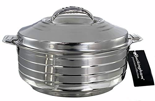 Buckingham Double Wall Stainless Steel Insulated Hot Pot Food Warmer Serving Dish Lidded Casserole Round Hotpot Food Storage 2500 ml