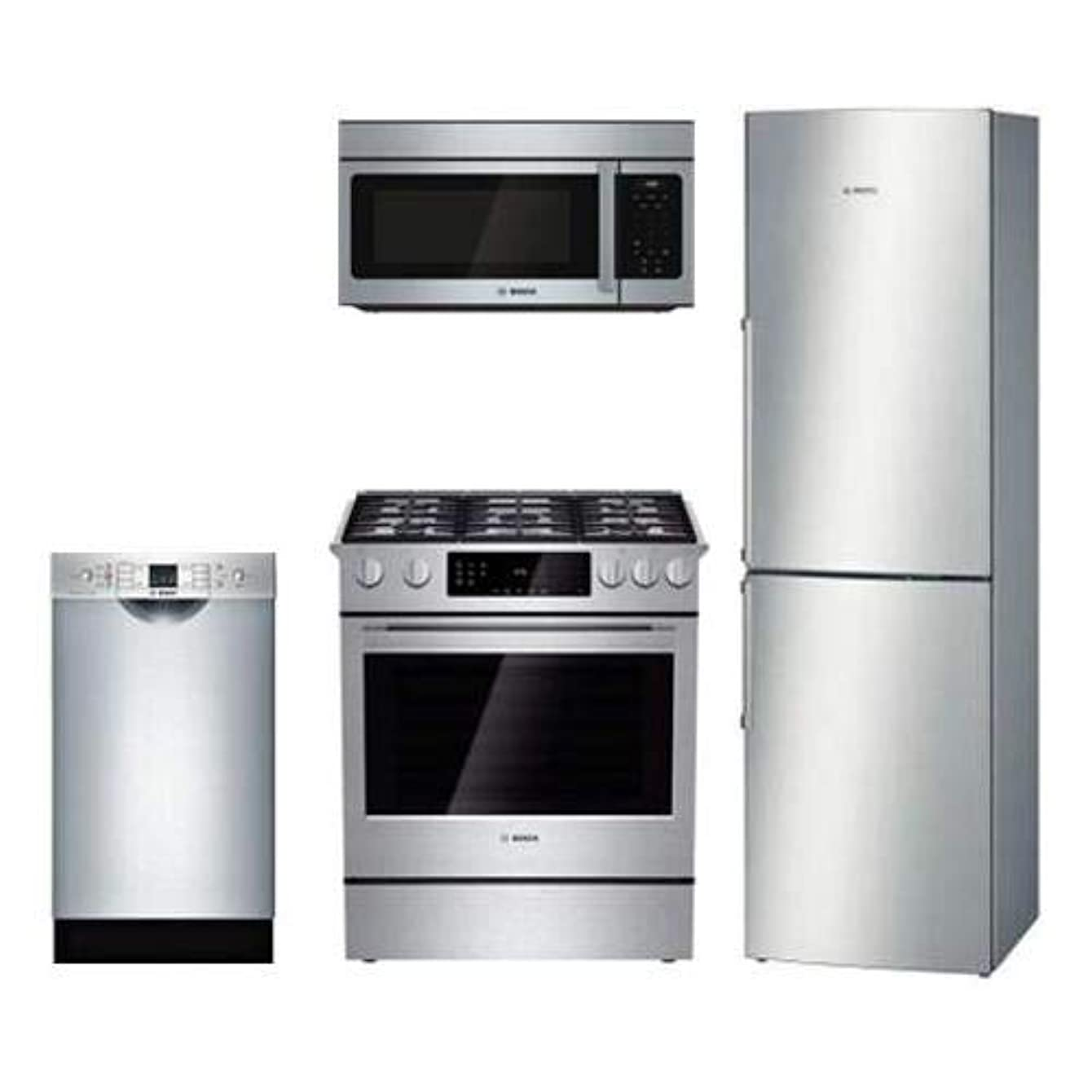 4-Piece Kitchen Package with B11CB50SSS 24 Bottom Freezer Refrigerator HGI8054UC 24 Gas Freestanding Range SPE53U55UC 18 Built In Dishwasher and HMV3053U 30 Over the Range Microwave