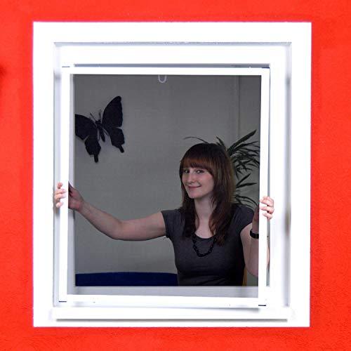 Profi Slim POLLENSCHUTZ Alu Bausatz für Fenster - Fliegengitter Insektenschutz (130 cm x 150 cm, Weiß)