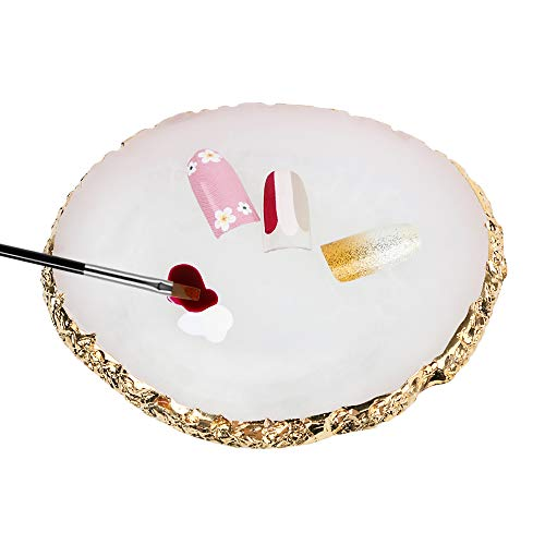 VINFUTUR Paleta Uñas de Resina Nail Art Palette Accesorios Manicura Utensilios Maquillaje para Arte Diseño DIY de Uñas-Blanco