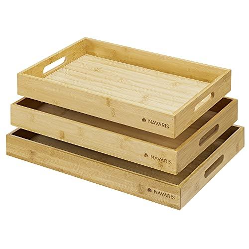 Navaris Bandeja Rectangular de bambú - Set de 3X bandejas para Cocina Servir Comida Desayuno Comer en la Cama - 3X Fuente Grande Mediana y pequeña