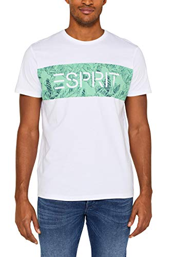 ESPRIT Herren 049EE2K001 T-Shirt, Weiß (White 100), Medium (Herstellergröße: M)