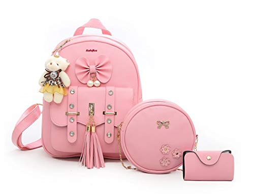SaleBox® Fashion Girls 3-PCS Fashion Cute Stylish Leather Backpack & Sling Bag Set for Women, School & College Girls/Leather Bagpack Set for Women Ideal for All Age Group (Baby Pink)