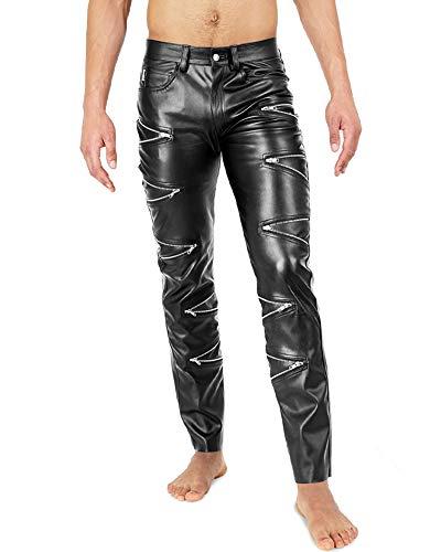 Bockle® Zipper Zip Faux STRETCH Faux leren broek leren broek mannen Leren jeans Tube tube skinny slim fit heren