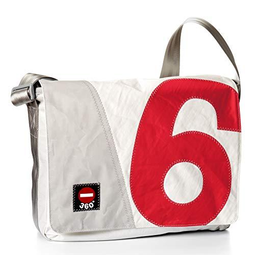 360° Barkasse Segeltuchtasche, Recycling Laptoptasche bis 15'' Zoll, Umhängetasche weiß, Zahl rot, Messengerbag