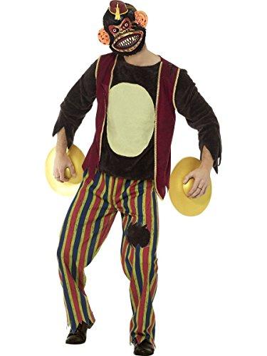 Herren Kostüm klatschender Spielzeug AFFE mit Maske Halloween Gr.L