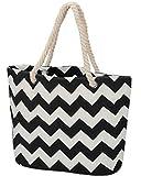 LIVACASA Bolsa de Playa con Cremallera de Lienzo Color Block Beach Bag...
