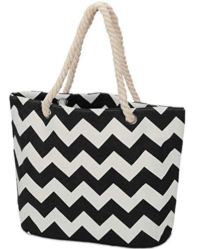 LIVACASA Bolsa de Playa con Cremallera de Lienzo Color Block Beach Bag Bolsa de Hombro de Lienzo Gran Capacidad Bolsos Totes para Mujer para Viajes Clases Picnic Negro