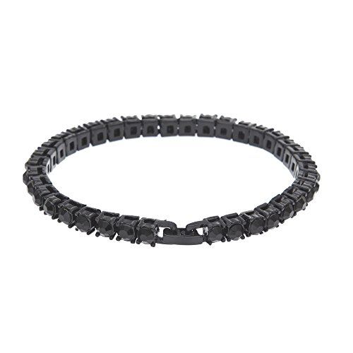 UINGKID UNIKID-Serie Kreative Stilvolle Charming Armreif Hip Hop Herren Armband Serie Strass Armband Kette Bling Kristall Armband (W-schwarz)