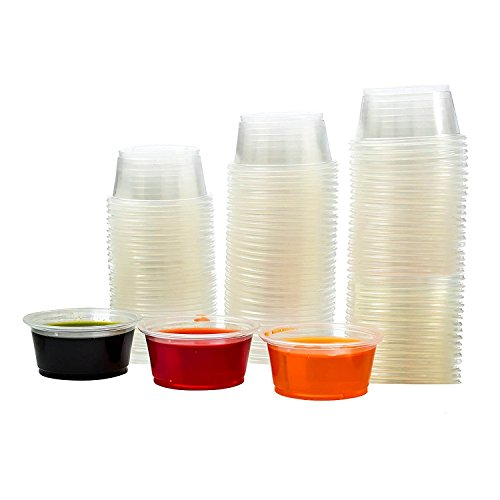 Adorox Clear Plastic Portion Cups w/ Lids Condiment Dips Jello Shots (2 oz (500 Cups))