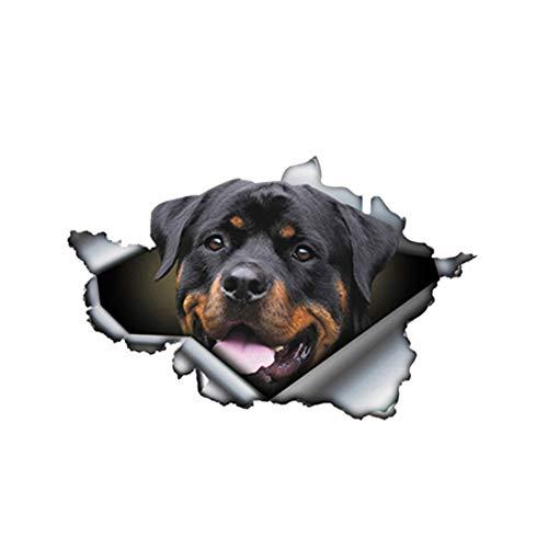 GQQ Autoaufkleber 13Cm X 8,4 cm Lustige Rottweiler Auto Aufkleber Zerrissen Metall Reflektierende Aufkleber Pet Hund Decals 3D Auto