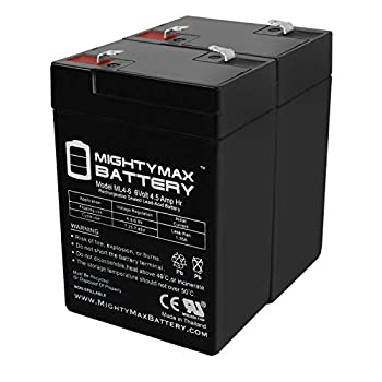 Mighty Max Battery ML4-6 - 6V 4.5AH SLA Battery Replaces cp0660 gp645 lcr6v4p hk-3fm4.5 wp4-6 - 2 Pack Brand Product