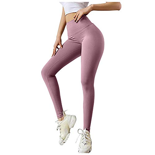 Mujer Pantalones Deportivos de Color Sólido Leggings Fitness Casual de Yoga Pantalón de Deporte con Bowknot Leggins Transpirables Elásticos Mallas Push Up de Cintura Alta