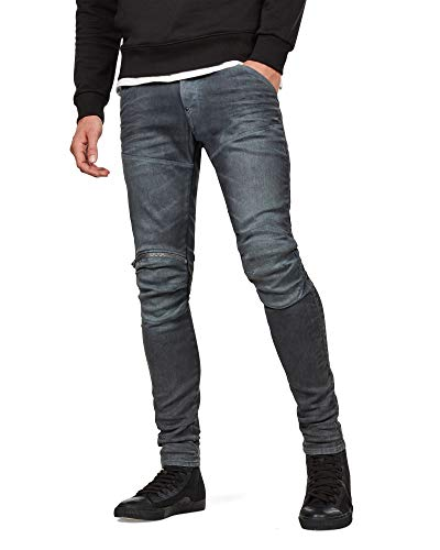 G-Star Raw Men's 5620 Knee Zip Superslim Jeans in Loomer Grey Superstretch, Dk Aged Cobler, 30x30