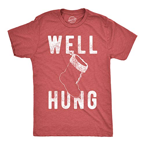 Mens Well Hung T Shirt Funny Christmas Stocking Tee Offensive Humor Xmas Gifts (Heather Red) - XXL